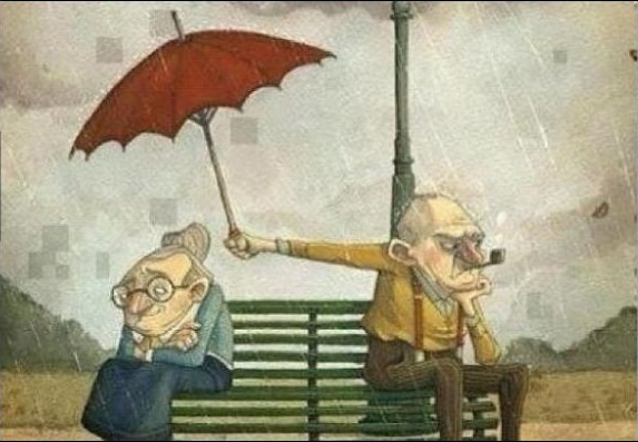 Ancianos enojo lluvia